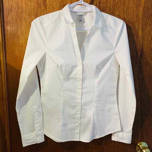 H&M women's white button down dress shirt
